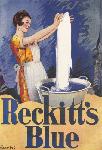 Traditionally blue was added to the final rinse, initially deriving from blue cobalt or indigo. Reckitt's Blue, seen here in an advert from c.1925, was world-famous since the 1800s