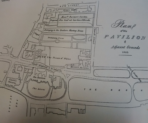 "Proposed New Road ""not less and 48ft wide"" shown between Messrs Furner's Garden and land belonging to the Quaker's Meeting House which the Prince bought for £800. Map copied from ""The History of the Royal Pavilion"" Henry D Roberts."