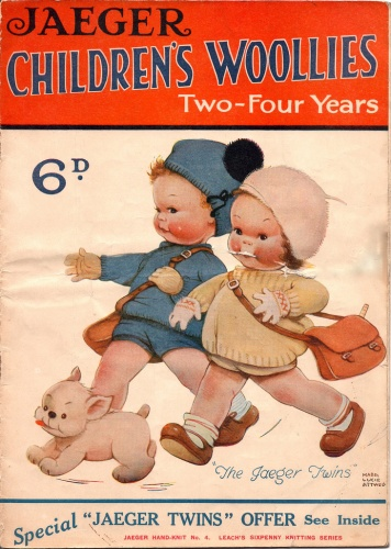 Mothers often knitted their children's clothes and many companies produced patterns, like Jaeger's picturesque twins' jerseys, shorts and hats, mid-late 1920s