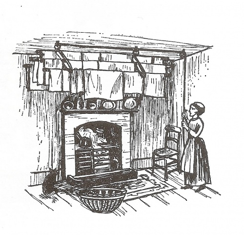 . Washing sometimes had to be dried indoors. This illustration depicts the Barnes Patent Clothes Drier and Airer, 1889, a contraption suspended from the ceiling near the fire