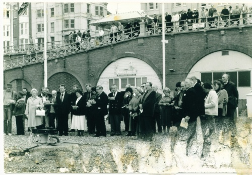 Reproduction courtesy of Alan Hayes.  Blessing of the nets, 1983 or 1985.