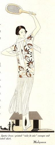 A Molyneux-designed dress with silk bodice and pleated skirt was recommended for women's tennis in this fashion plate from 1924 [Jayne Shrimpton]