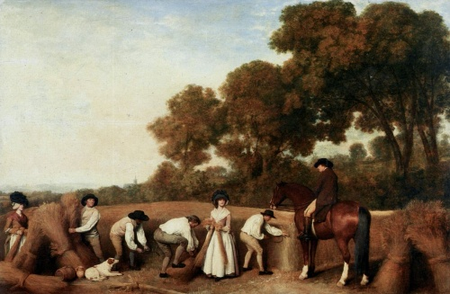 Reapers by George Stubbs (1785) shows neatly-dressed harvesters, their white linen, good footwear and fashionable black hats rather too clean and stylish to be entirely realistic. [Wikimedia Commons]