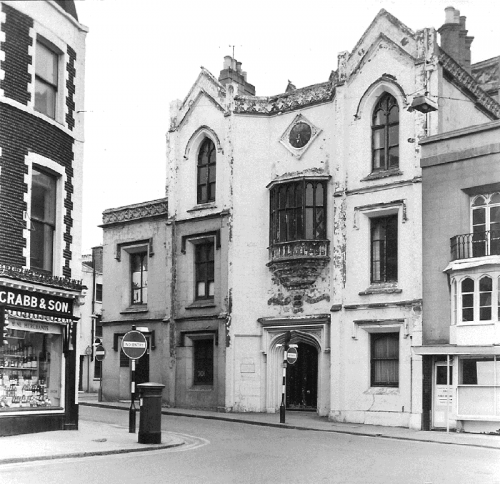 The corner of Jubilee Street (now Carluccio's) was occupied by the Central National School from 1871 until 1969.  It was one of the town's earliest schools, designed in a Regency Gothic style, it had two shops on the ground floor with the master's residence. It closed in 1967 and was demolished in 1971 before a protection order, that was in the post, arrived. Image courtesy of Brighton Town Press.