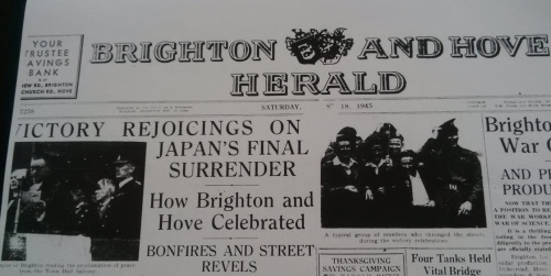 Brighton and Hove Herald, Saturday 18th August 1945.  Surrender came after atomic bombs had been dropped on Hiroshima and Nagasaki and the Russian declaration of war and invasion of Manchuria.