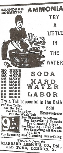 This advert c.1890 is for a brand of ammonia, a gentle bleach often used to whiten or lighten yellowing woollen or flannel items