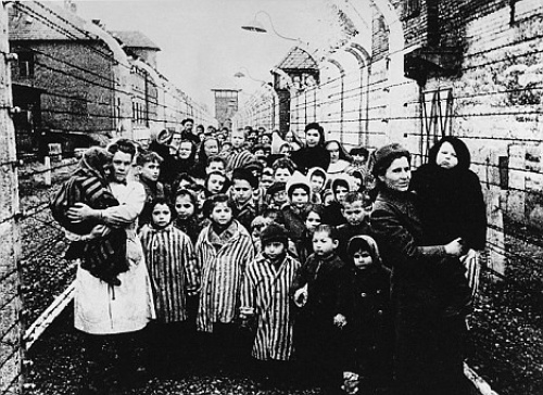 Children liberated from Auschwitz on the 27th January 1945. It is estimated that at a minimum 1.3 million people were deported to Auschwitz and its satellite camps between 1940 and 1945; of these, at least 1.1 million were murdered.